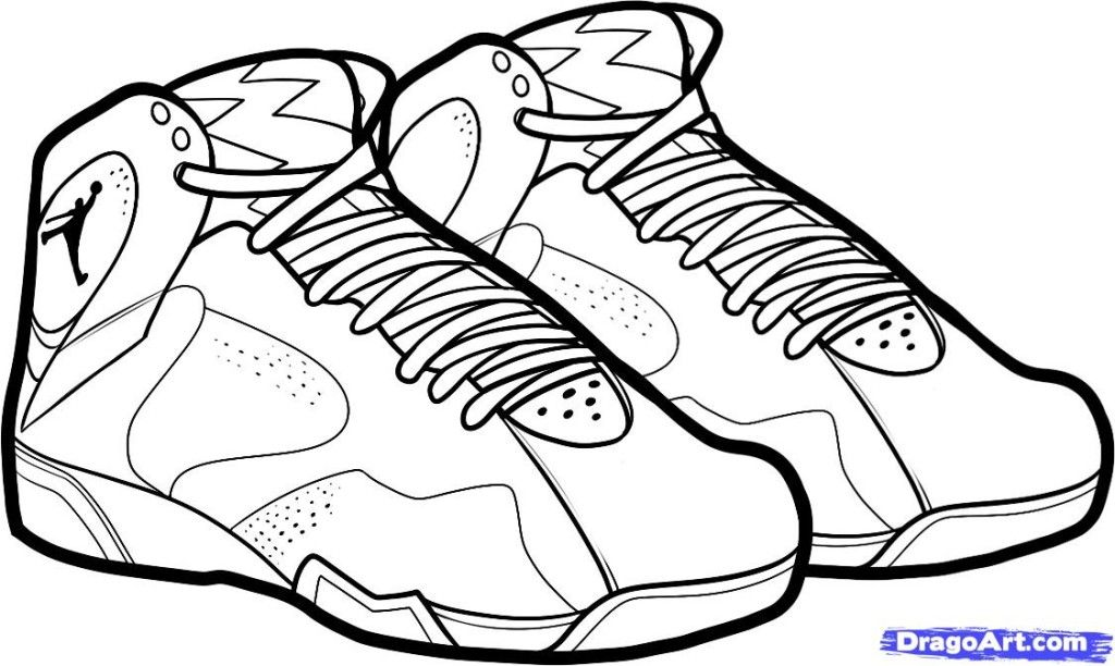 Air Jordan Basketball Shoe Coloring Pages Enjoy Coloring
