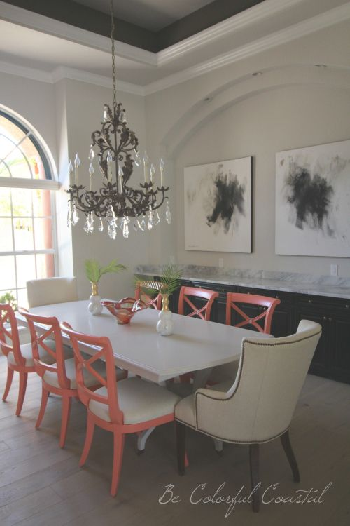 Painting A Traditional Dining Room Setcoral Painted Chairs And Cool Traditional Dining Room Sets Cherry Inspiration
