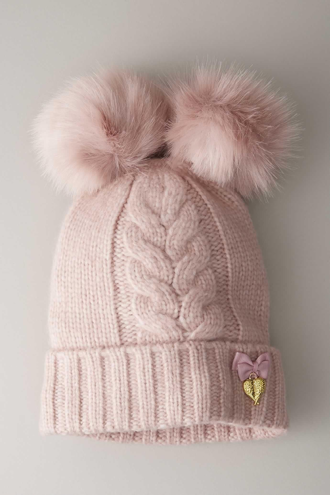 ade687f46 Girls Double Pompom Hat | New York | Pom pom hat, Hats, Knitted hats
