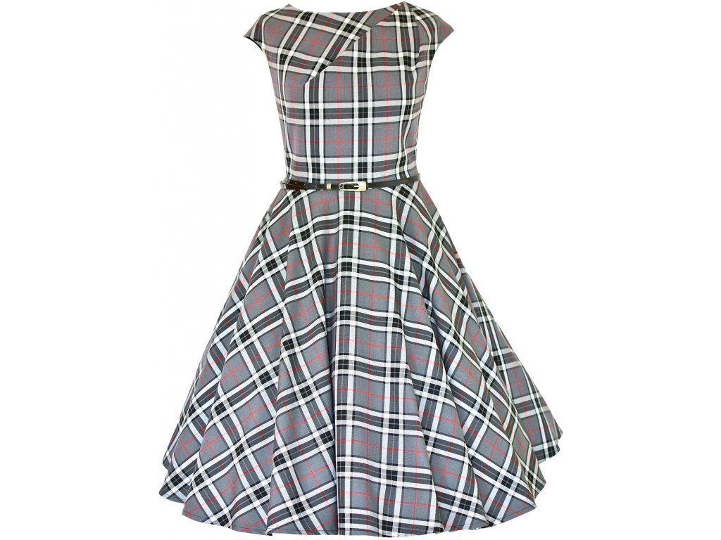 CHANTE retro šaty kostka šedá - více barev. rafinovaný skládaný výstřih  přinechaný rukávek pásek s 5f6abb2a5ba