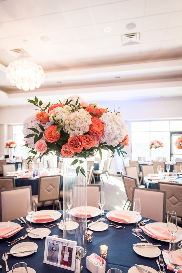 Coral Rose And White Hydrangea Centerpiece Reception Table Navy