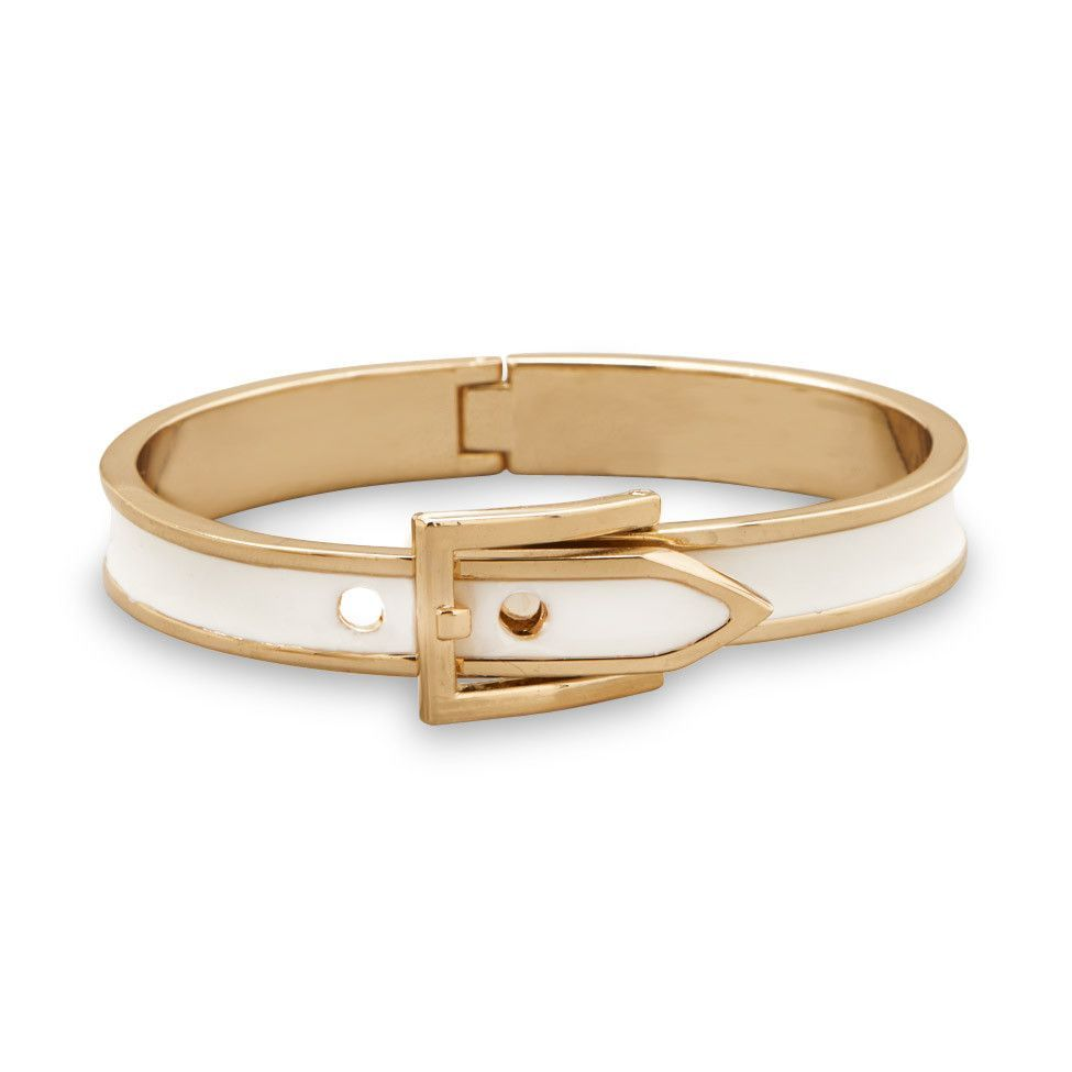 Adjustable White Enamel Belt Design Fashion Bangle Bracelet