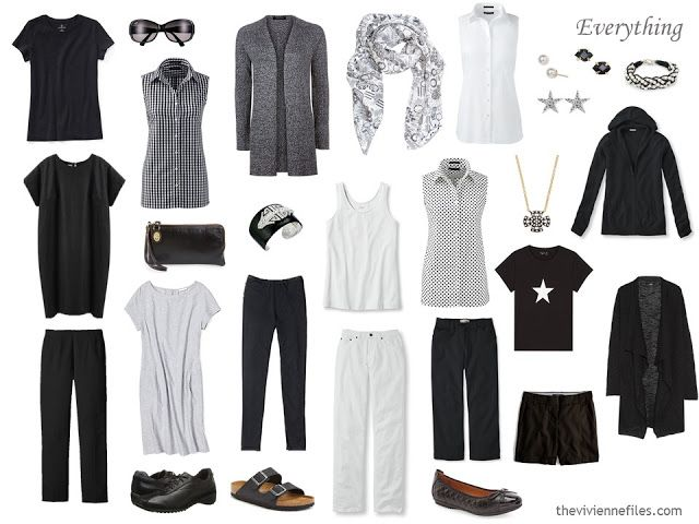 a 16-piece warm-weather travel capsule wardrobe in black and white, with accessories