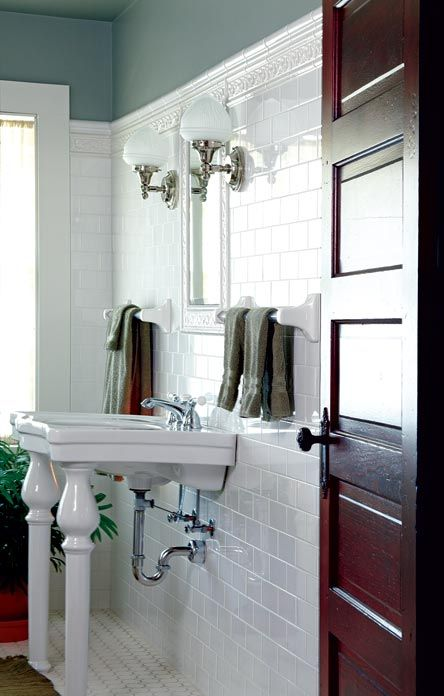 White Subway Tile And A Console Sink Bring Period Style To A Prairie House  Bathroom. Photo: Scott Van Dyke