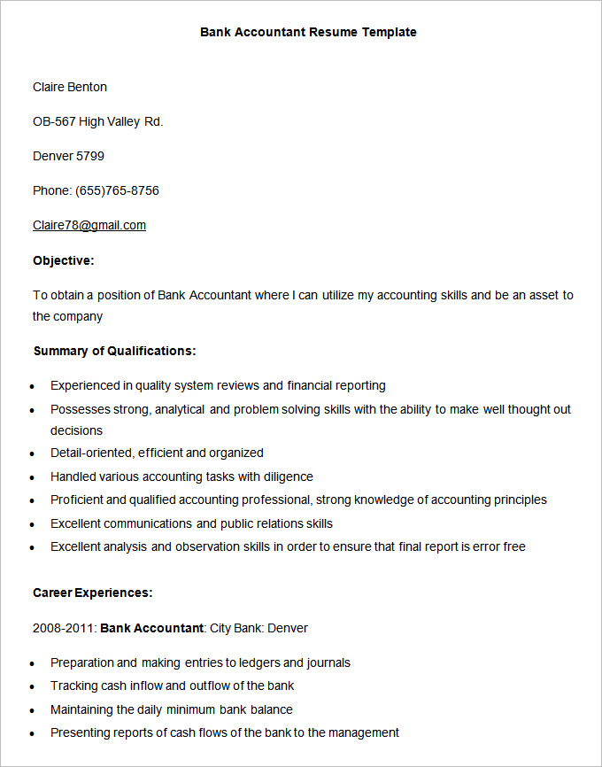Accountant Resume Format 2019 2020 in 2020 (With images