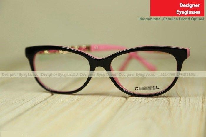46356c0183 Chanel 3268 full-rim women lamb-skin chain near-sighted frame outside  black inside pink