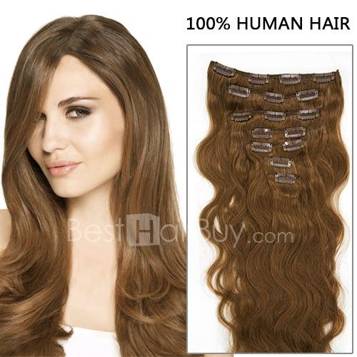 16 Inch 7pcs Bouncy Body Wavy Clip In Remy Hair Extensions 70g 8