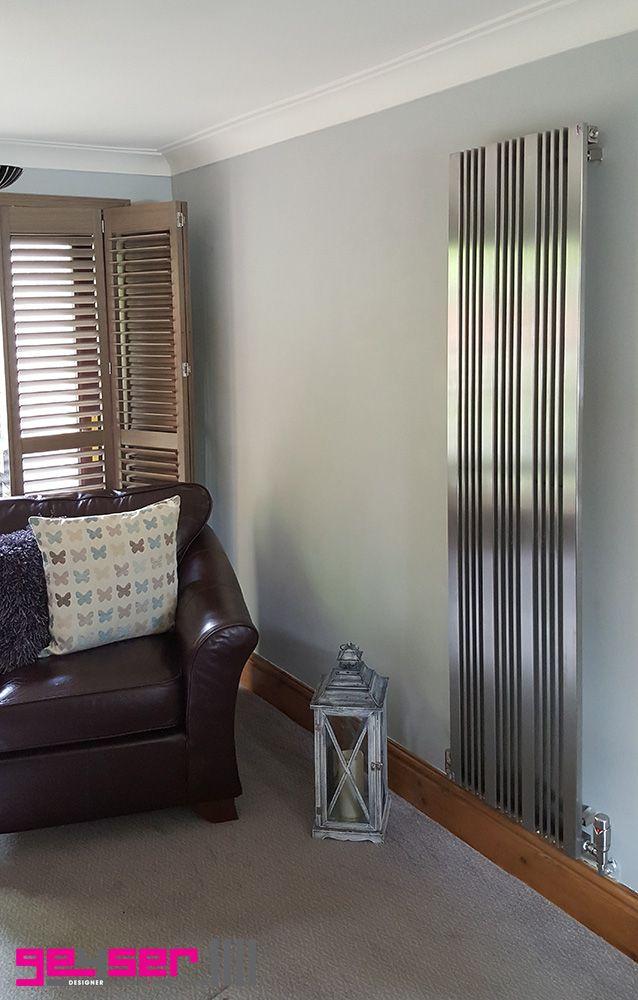 """Geyser """"ELEVATO"""" Brushed Stainless, Designer Radiator #designerradiator #stainlesstseelradiator #brushedstainlessradiator #kitchenradiator #verticalradiator"""