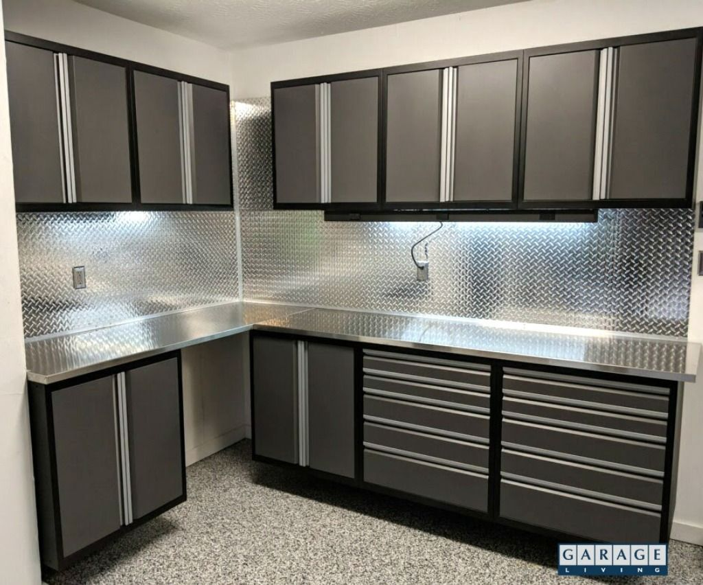 Granite Gray Diamond Plate Stainless Garage Storage Cabinets Diamond Plate Modern Kitchen Design