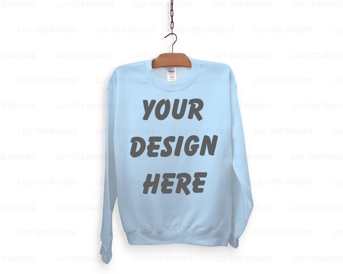 Download Light Blue Gildan 18000 Mock Up With Hanger Sweatshirt Mock Etsy Sweatshirts Hoodie Mockup Sweatshirts Online