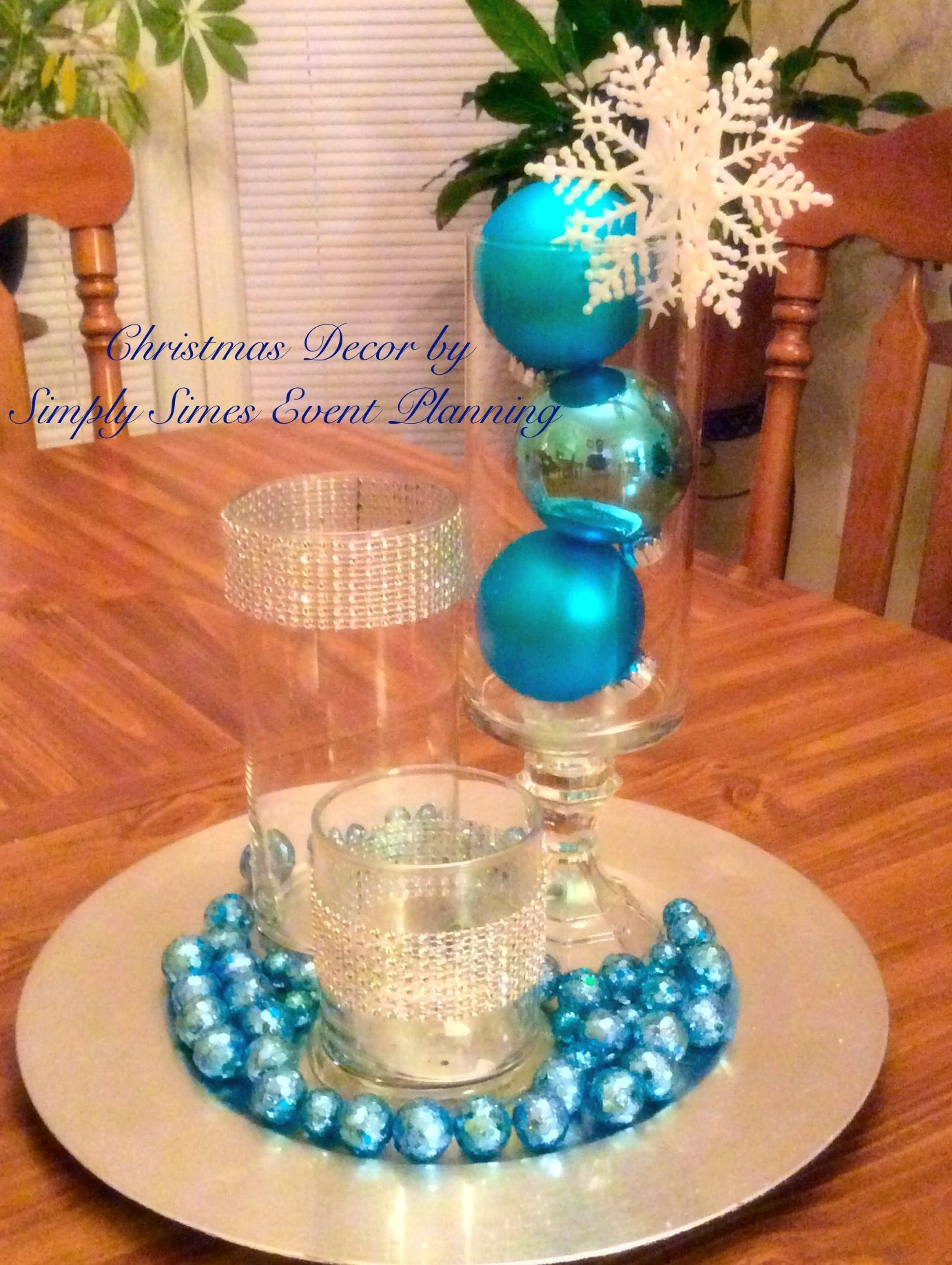 Turquoise And Silver Winter Themed Christmas Centerpiece By Simply Simes