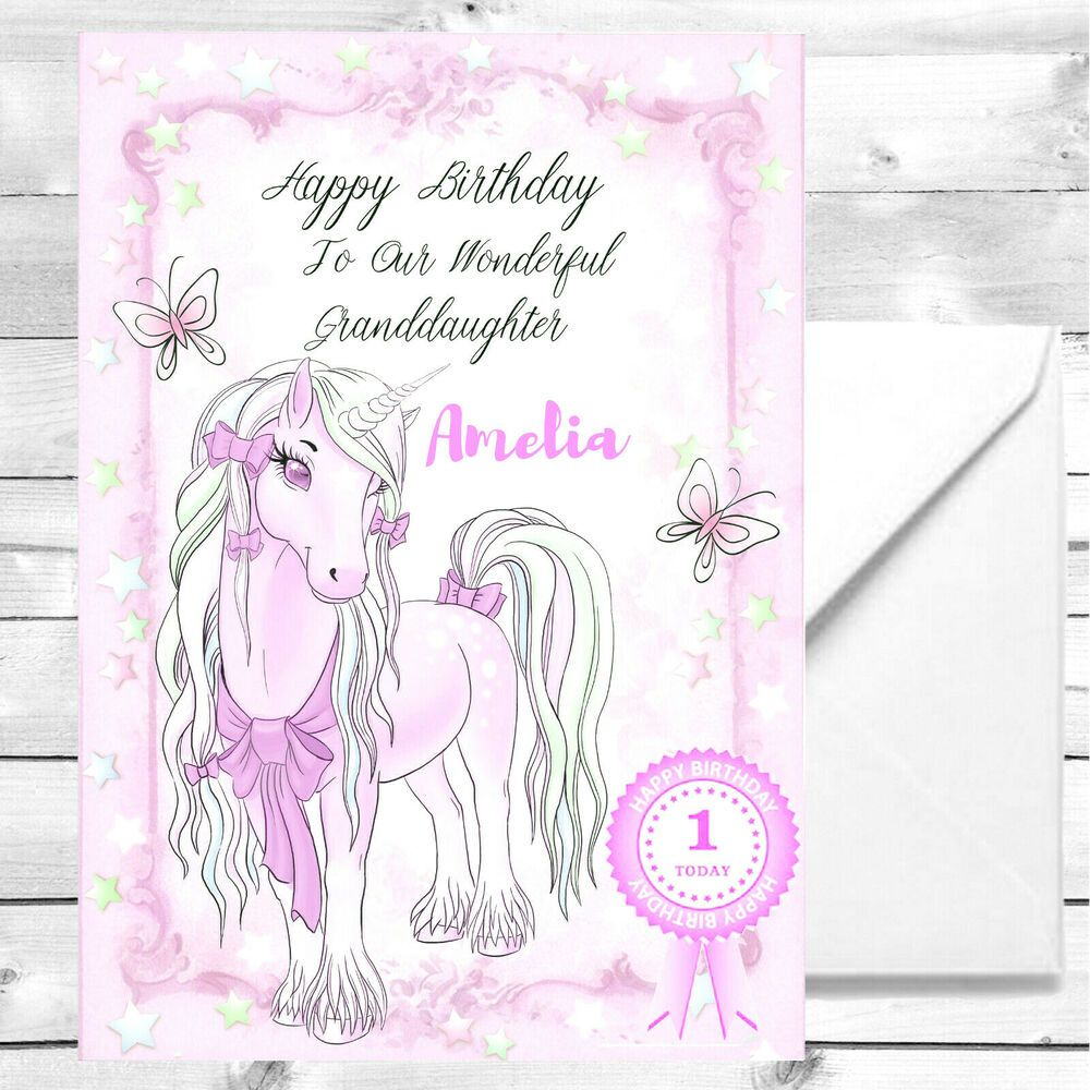 Personalised Unicorn Card glittered Any Age 1st 2nd 5th