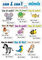 english worksheet can can t with animals animals activities animal worksheets canning. Black Bedroom Furniture Sets. Home Design Ideas
