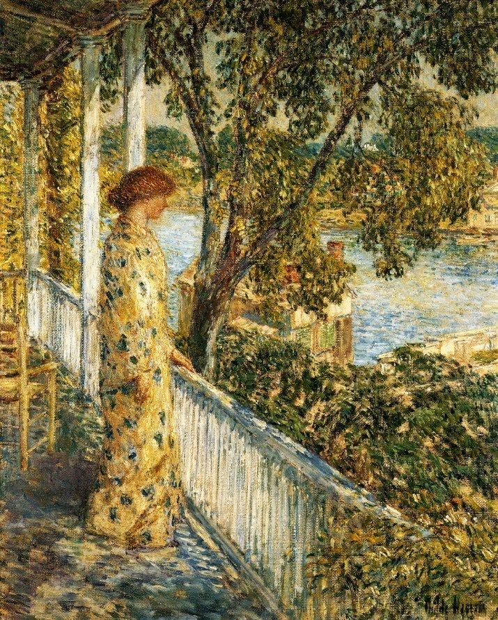 """Listening to the Orchard Oriole"" by Frederick Childe Hassam (1859-1935), American Impressionist painter."