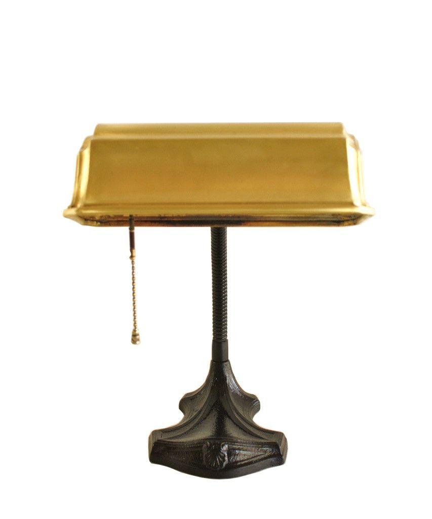 Vintage gooseneck desk lamp with brass shade home decor