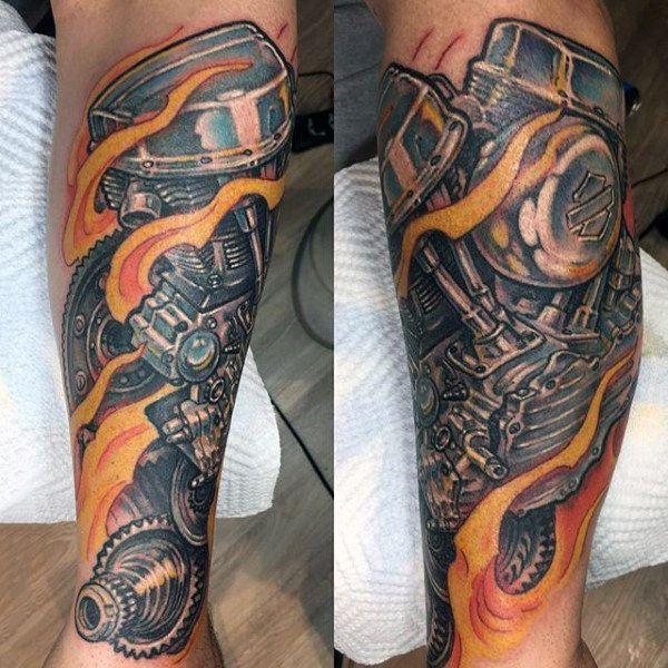 90 Harley Davidson Tattoos For Men Manly Motorcycle Designs Harley Davidson Tattoos Biker