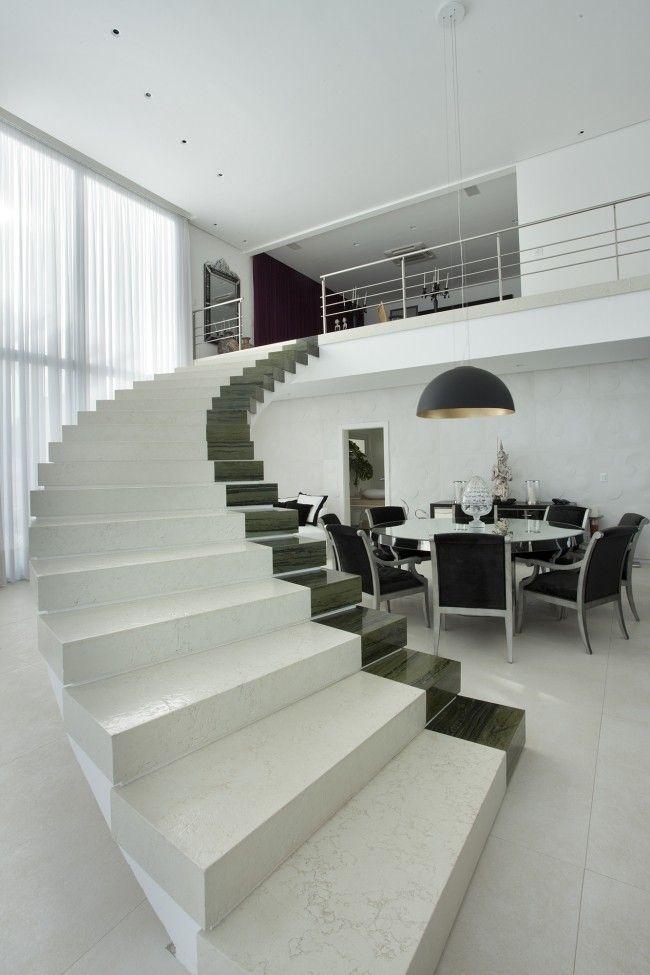 Treppe Ohne Geländer moderne treppe ohne geländer marmor teil farbe essbereich unten