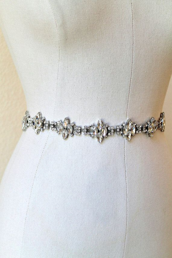 523da5f68 Gorgeous vintage style rhinestone sash made up of clear marquise clusters  set in beautiful silver metal backing. Please note the color in person is