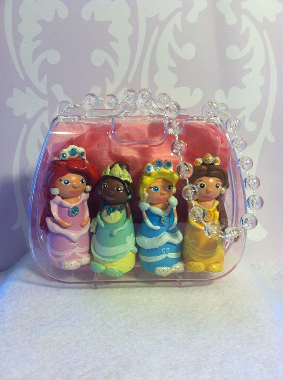 3Dimensional  Princess peg people toy/cake topper on Etsy, $32.00