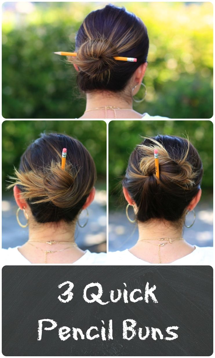 Pencil buns backtoschool hairstylescutegirlshairstyles