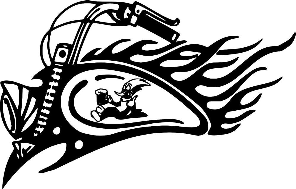 Details About Tribal Motorcycle Woody Woodpecker Decal Car