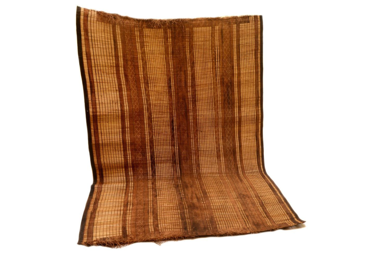 Vintage African Leather 6x9 Tuareg MatAntique Mauritanian Sahara Straw Rug  Beni Ourain Tapis Berber Teppish Large