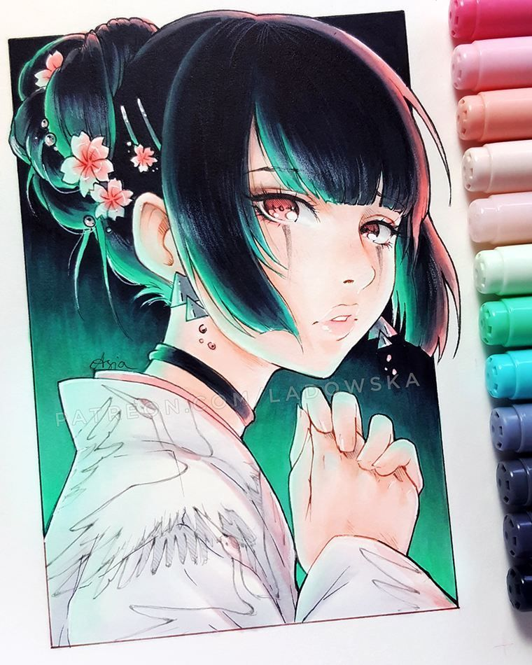 Girl With Dark Green Hair Ladowska Portrait Reference Female Pose Reference Copic Drawings Anime Drawings Manga Art
