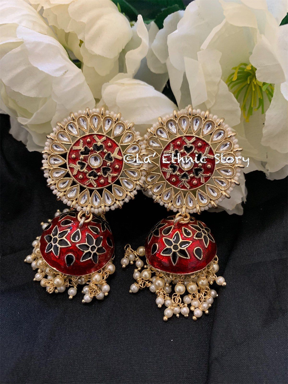 Partywear Gift Ethnic Hippie Traditional Big Jhumka Bollywood Fashion Gypsy Matt Finish Earring Indian Traditional Jhumka Trending