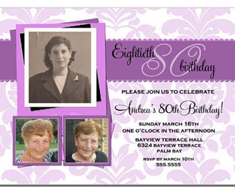 80th Birthday Invitations For Women Invitation Picture Photo Purple Lavender Printable Or Printed