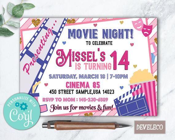 Photo of Movie Night Girl Invitation, Movie Party, Movie Birthday, Girl Movie Invite, Cinema Invite, Movie Night Invitation, Outdoor Movie Invitation