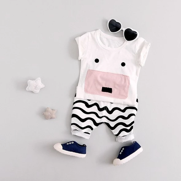 Striped Pants 2pcs Outfits Toddler Infant Baby Girls Boys Cute Clothes Set Hooded Sweatshirt Cartoon Pig Tops