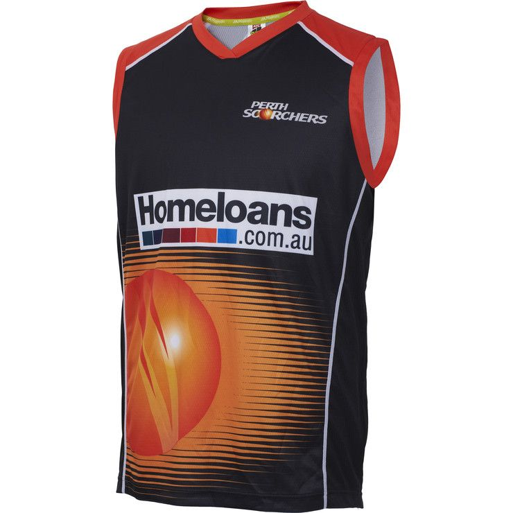The Perth Scorchers 2015/16 Mens Training Singlet is an exact replica of the singlet worn by your favourite player during practice. If you're training yourself or if you're just trying to stay cool this summer, this singlet will be a go-to for anyone who wants to showcase their team pride! The lightweight singlet features sublimated logos on the front and back, along with contrast colour neckline and side panels.
