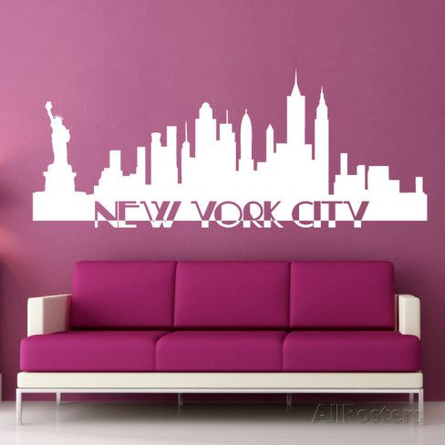 Delightful New York City Skyline White Wall Decal Part 20