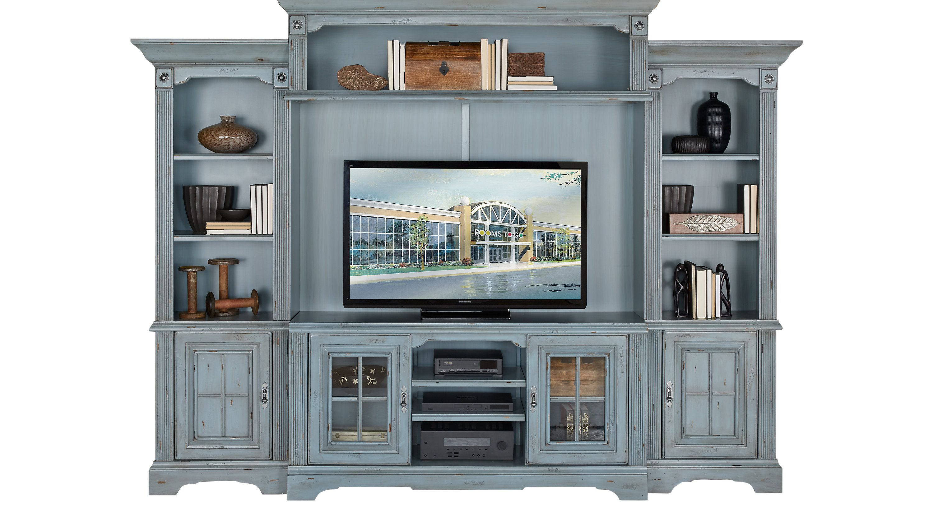 Wall Units - Rooms To Go - Mountain Bluff Blue 4 Pc Wall Unit