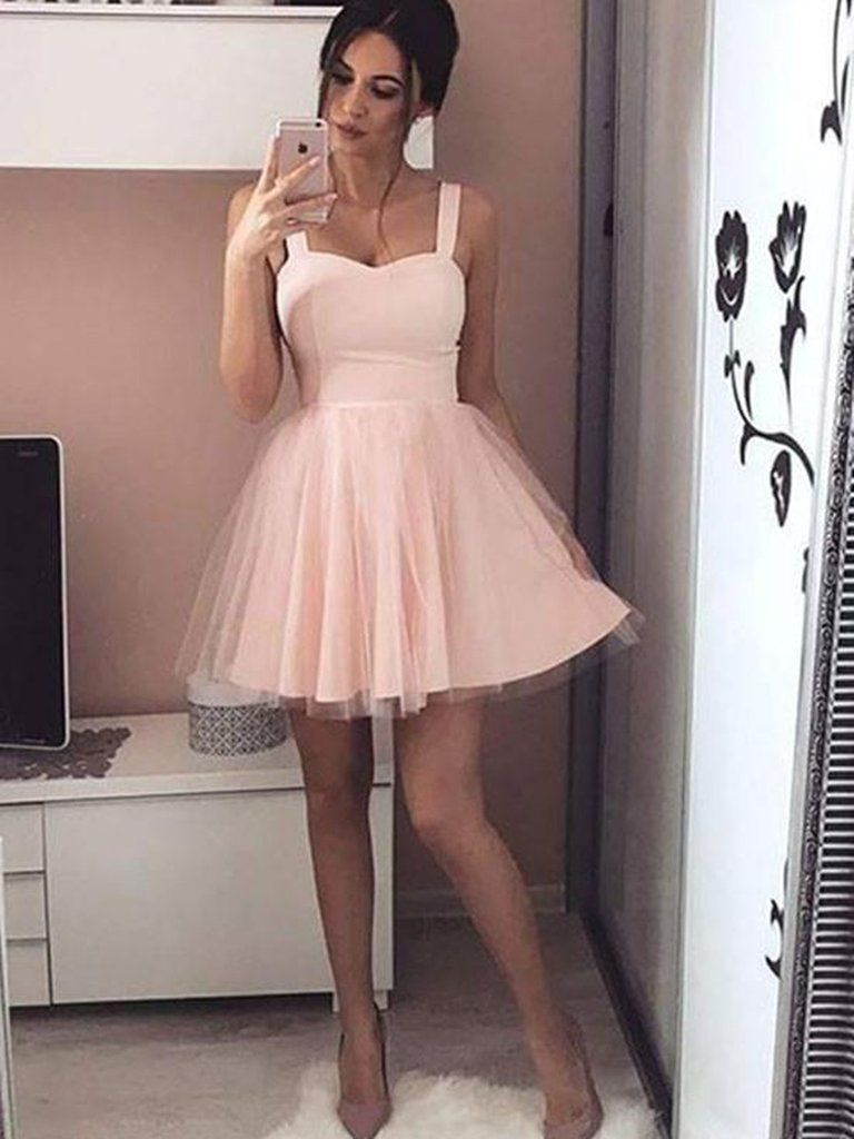 Simple A Line Sweetheart Neck Short Pink/Black Prom Dress with ...