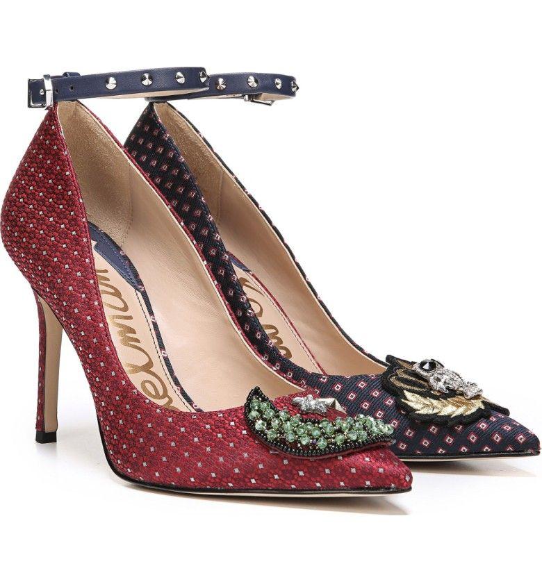 d0f1a334035763 Main Image - Sam Edelman Hermione Embellished Pump (Women) Ankle Straps