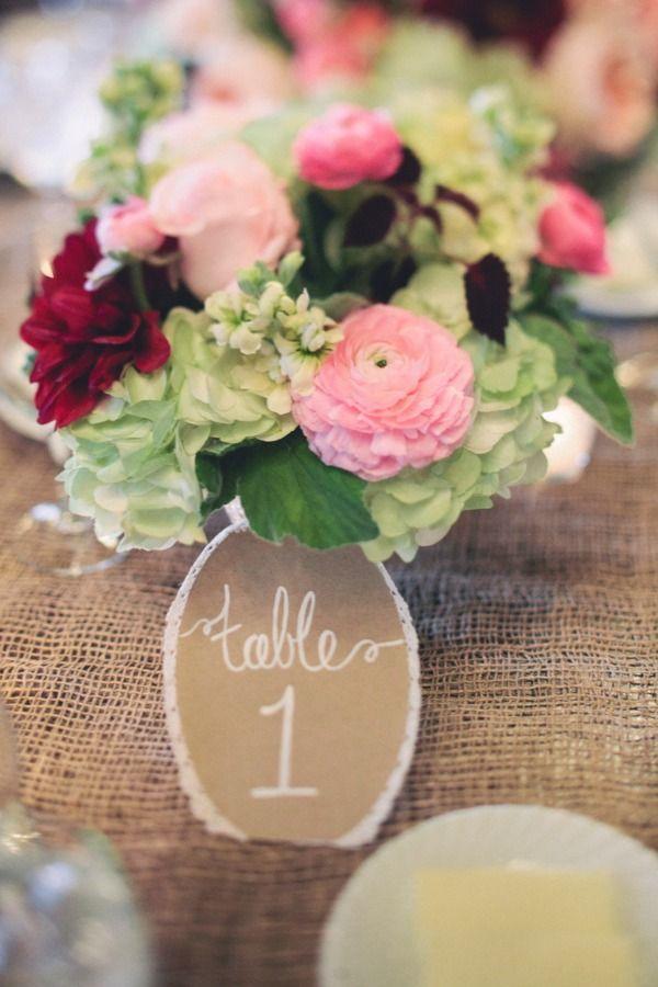 flowers, burlap, table numbers