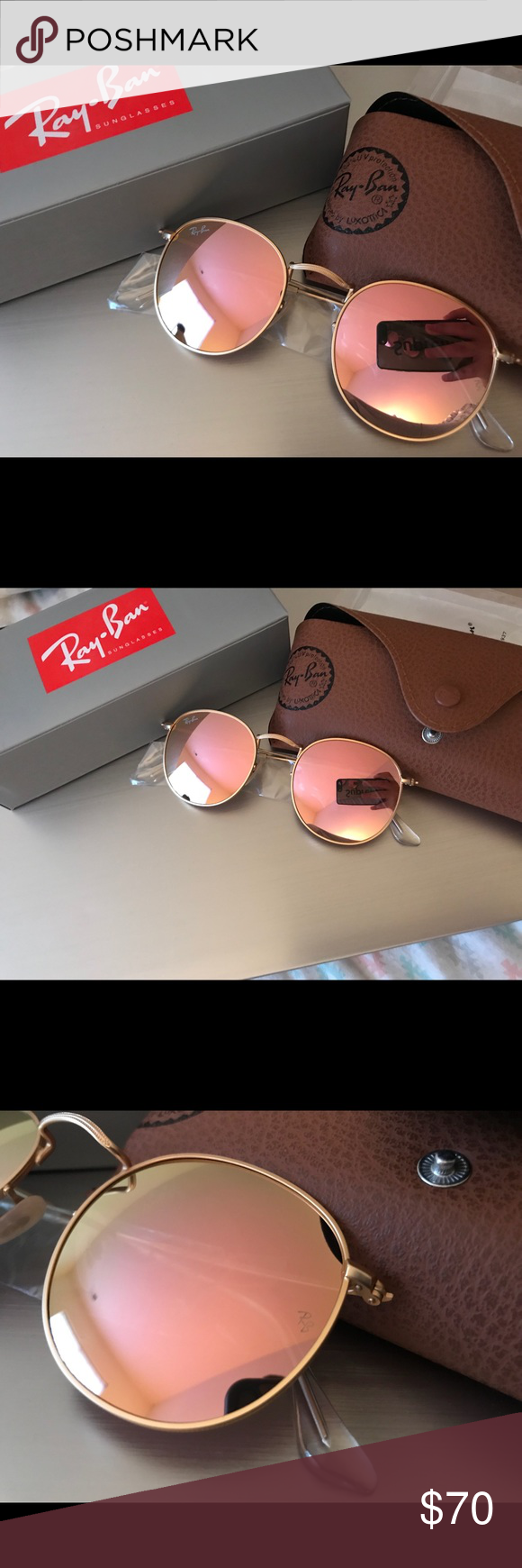 87b982dd25c Brand New Authentic Ray-Ban RB3447 Round Metal Brand New Ray-Ban RB3447  Round