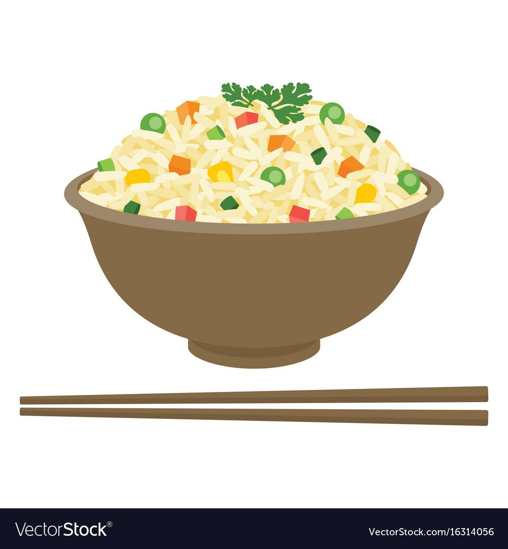 Fried Rice In Bowl With Chopsticks Royalty Free Vector Image Vegetable Illustration Food Illustrations Fried Rice
