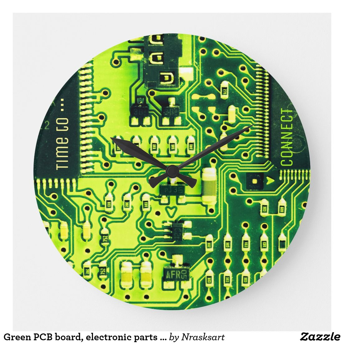 Green Pcb Board Electronic Parts Printed Circuit Large Clock Zazzle Com Electronic Parts Large Clock Clock