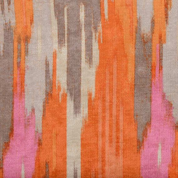 Orange Pink Velvet Upholstery Fabric - Abstract Velvet Pillow Cover - Pink Grey Velvet Headboard Fabric - Modern Velvet Ottoman Pouf #velvetupholsteryfabric