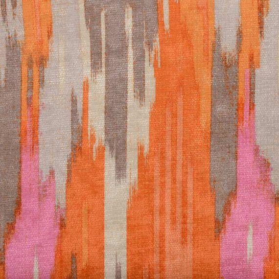Orange Pink Velvet Upholstery Fabric - Abstract Velvet Pillow Cover - Pink Grey Velvet Headboard Fabric - Modern Velvet Ottoman Pouf #velvetupholsteryfabric