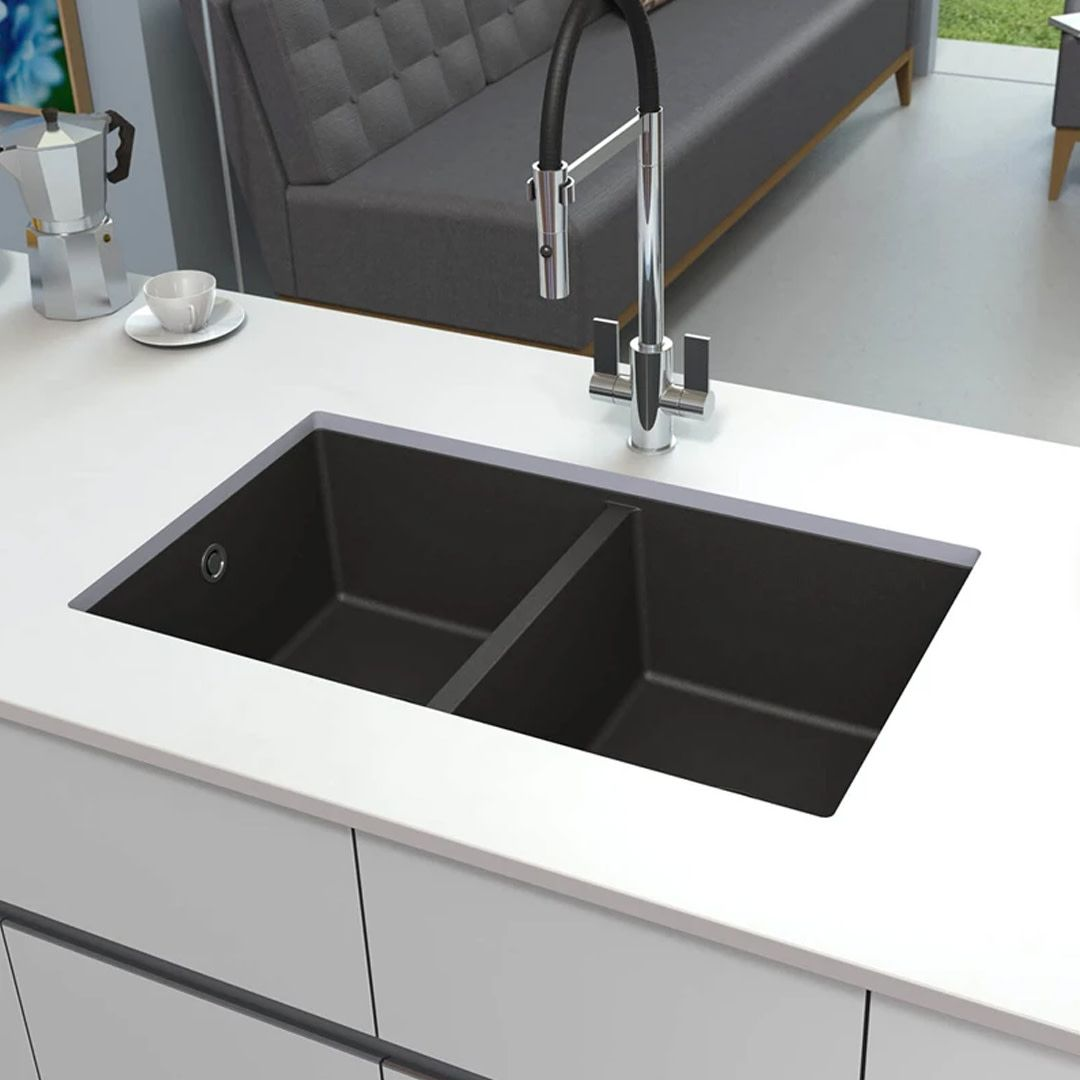 We Re Pretty Proud Of This One The Astracast Onyx 2 Bowl Volcano Black Granite Composite Composite Kitchen Sinks Black Kitchen Sink Cottage Kitchen Design