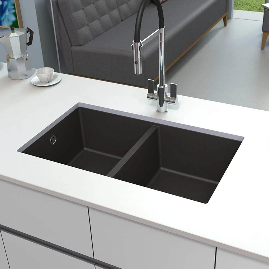 Signature Hardware 447659 Black Totten 33 Drop In Or Undermount Single Basin Granite Composite Kitchen Sink Composite Kitchen Sinks Undermount Kitchen Sinks Kitchen Sink Design