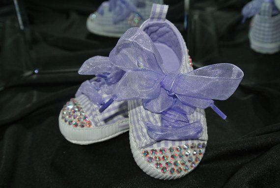 Purple Gingham with Hearts Swarovski Crystal Baby by PrimBeads, $35.00