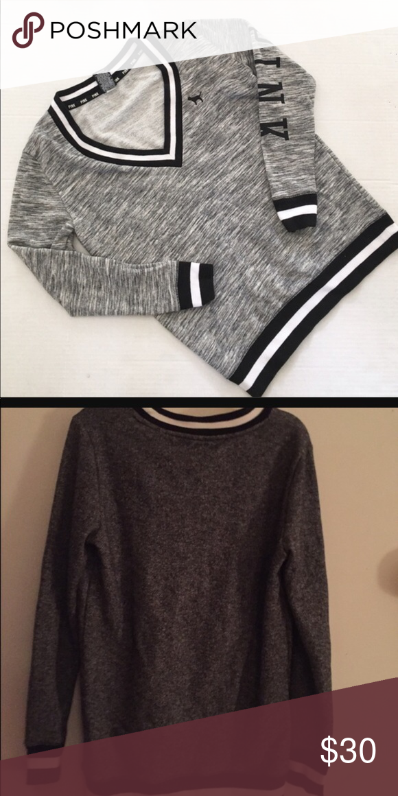 Pink Victoria's Secret Varsity Sweater V neck, heather grey sweater with  black and white trim