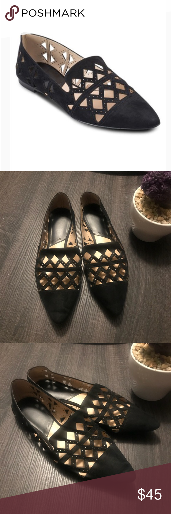 MNG Black Textile Cutout Pointy Loafers Flats 39 EIGENSCHAFTEN  Gr 39 85 oder 9 black