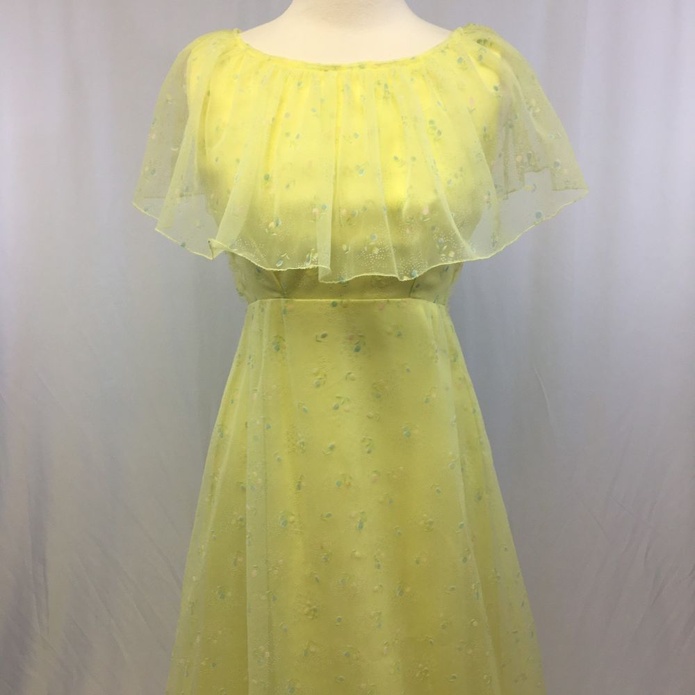 Vintage 1970s Southern Belle Prom Dress Yellow Floral Formal Prairie Style Sheer Belle Prom Dress Prom Dresses Yellow Yellow Dress [ 1000 x 1000 Pixel ]