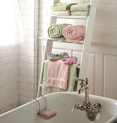 Ladder Instead of installing a typical metal rack to hold your towels enlist a ladder Chab