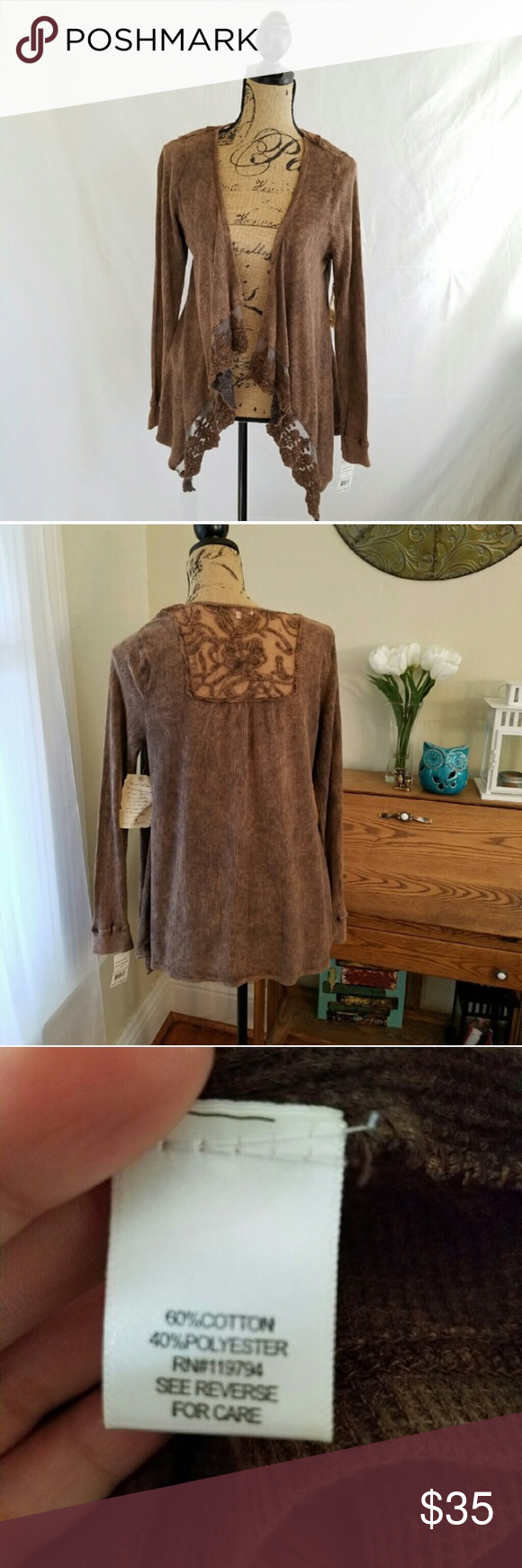 One World Brown Lace Waterfall Cardigan Brand new with tags . No ...